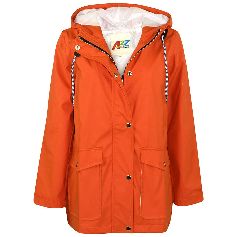 A2Z 4 Kids® Kids Girls Boys PU Raincoat Jackets Designer's Orange Windbreaker Waterproof Cagoule Hooded Rainmac Shower Resistant Coats Age 5 6 7 8 9 10 11 12 13 Years
