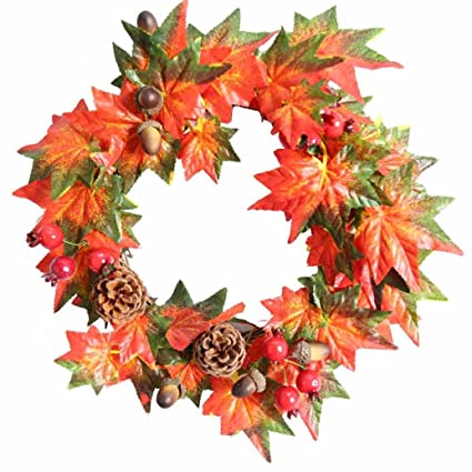 iusun pumpkin berry maple leaf fall door wreath door wall ornament thanksgiving day christmas decoration 12inch - What Day Does Christmas Fall On