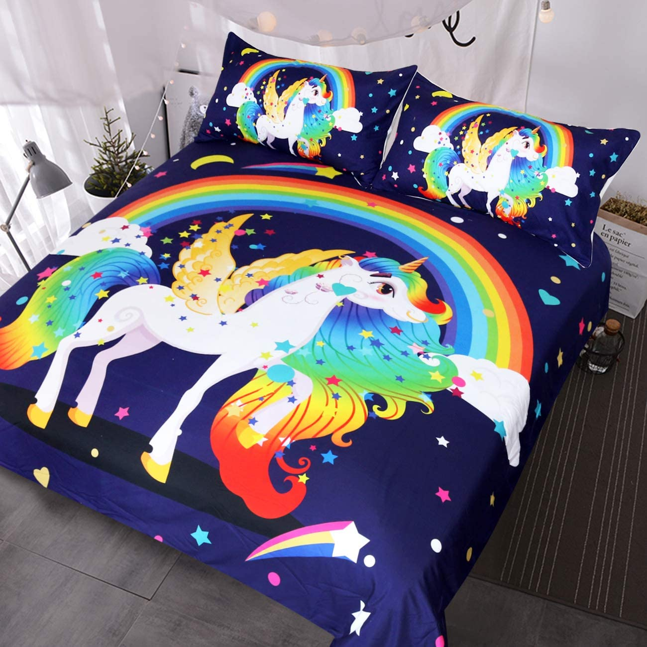BlessLiving Blue Unicorn Bedding for Teens Girls Boys Winged Unicorn Rainbow and Stars Fantasy Duvet Cover 3 Pieces Kids Magical Bed Set (Twin)