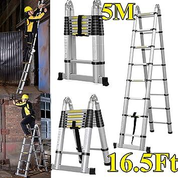 Escalera telescópica telescópica de 5 m de aluminio, extensible, portátil, multiusos, escalera para uso en interiores y exteriores, para bricolaje, ahorra espacio: Amazon.es: Bricolaje y herramientas