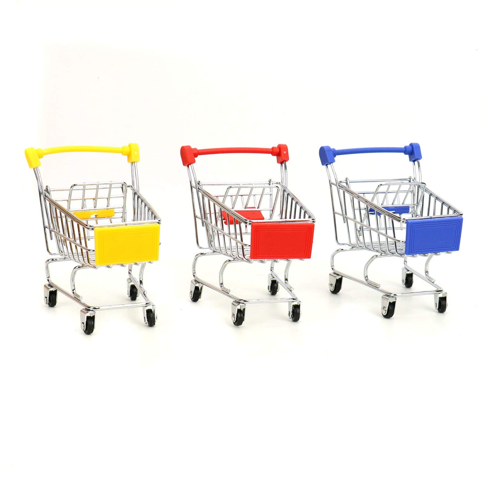 WSSROGY 3 Pack Mini Supermarket Handcart Cart Mode Storage Toy Table Office Novelty Decoration