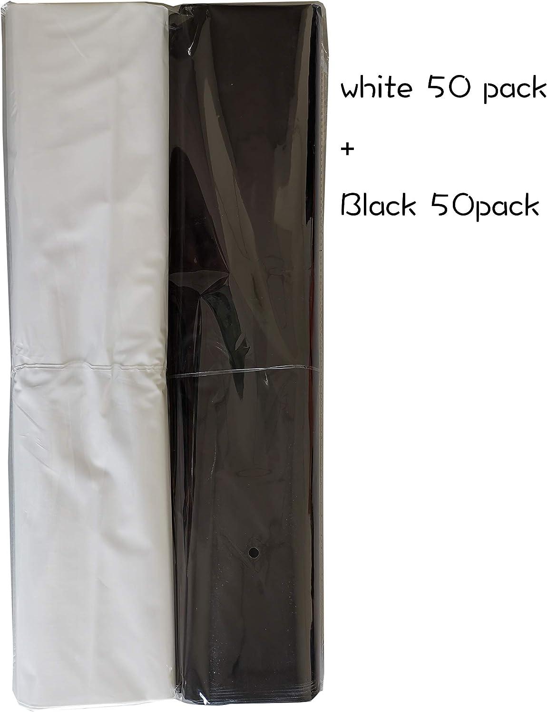 100 팩 20X20 과 함께 2 밀 추가 두께 상품 플라스틱 광택 있는 소매 가방 거푸집 절단 손잡이 선물 쇼핑 백을 위한 부티크 파티 선물 생일 재상할 수 있는 100%(백색 | 검정)