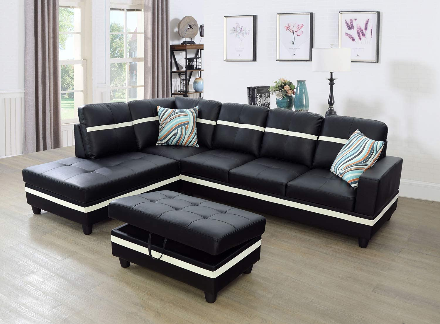Lifestyle Furniture Left Facing 3pc Sectional Sofa Set With Storage Ottoman Faux Leather Black Furniture Decor