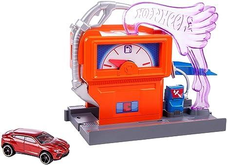 Mattel Hot Wheels-Carreras en la gasolinera, Pistas de Coches de Juguete niños +