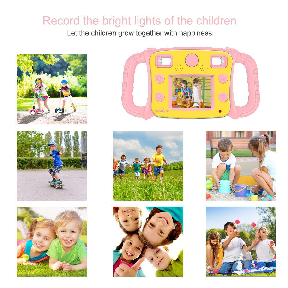 DROGRACE Kids Camera 1080P HD Kids Digital Video Camera Sports Camera for Girls Birthday Holiday Gift Children Camera with 2 inch LCD Screen – Pink