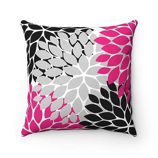 EstherBur87 PIL55 - Funda de Almohada con diseño de Flor Rosa y Negra, Color Fucsia