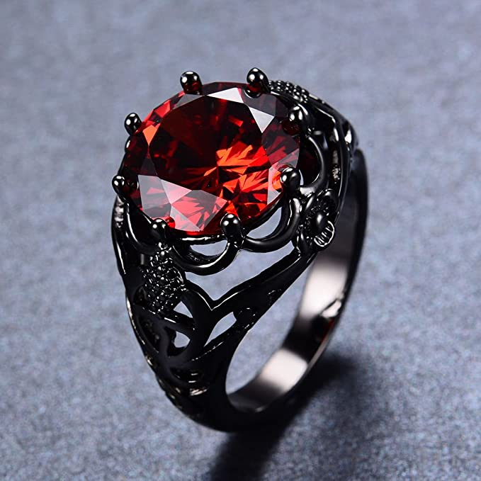 Amazon.com: Wassana Vintage Round Cut Red Ruby Wedding Ring Women