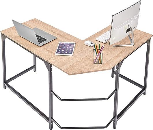 Aingoo Scrivania per Computer ad Angolo a Forma di L con Ripiani per scrivania da Ufficio Scrivania per PC Portatile per archiviazione