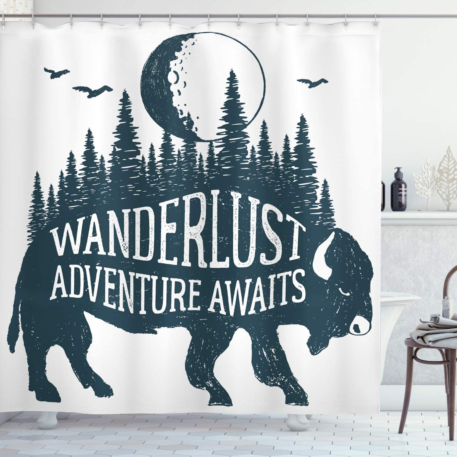 """Ambesonne Adventure Shower Curtain, Hand Drawn Buffalo Wanderlust Lettering Forest and Moon Journey Theme, Cloth Fabric Bathroom Decor Set with Hooks, 70"""" Long, Dark Petrol"""