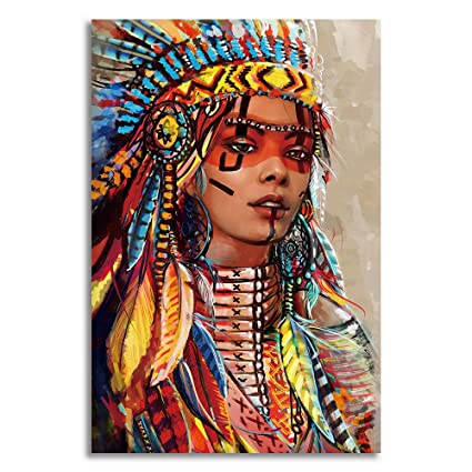 Amazon.com: BYXART Native American Indian Girl Decor Colorful Canvas ...