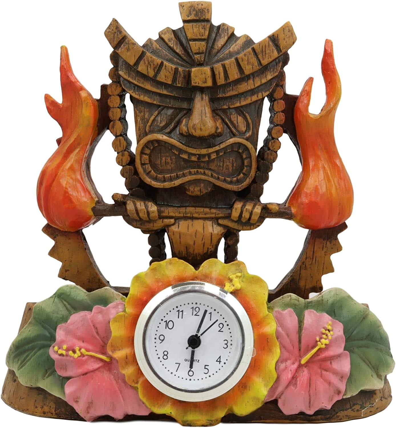 "Ebros Gift Tropical Colorful Polynesia Tiki Fire Goddess Pele Bedside Table Desktop Clock Figurine 7"" Tall Volcano Lightning Wind Deity of Hawaii Sculpture Decorative Clocks Accent"