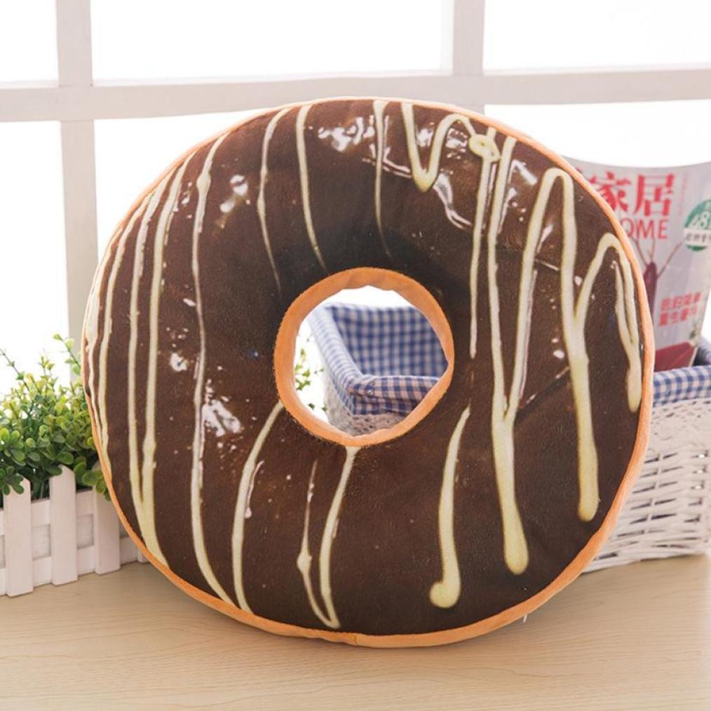 Janly® Cute Donuts Pillow Case Chocolate Donuts Plush Macaron Food Cushion Nice Bottom Cushion Nap Pillow Doughnut Household Funny Decoration (A) SDF-8956