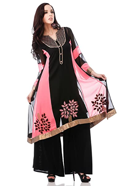 Utsav Fashion - Camisas - para mujer Multicolor Black/ Pink 54