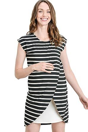c9a27a1c10 Hello MIZ Color Block Asymmetrical Breastfeeing Maternity Nursing Dress  (Small