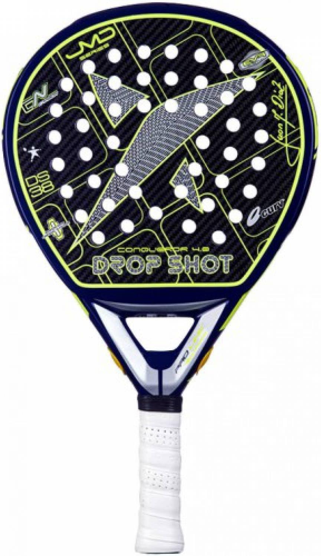 DROP SHOT Conqueror 4.0 - Pala de pádel, Color Negro/Amarillo, Talla 38 mm