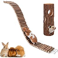 XIAO MO GU Hamster Suspension Bridge Toy,Natural Wooden Hamster Mouse Tunnel Tube Toy for Dwarf Syrian Hamster Mice…