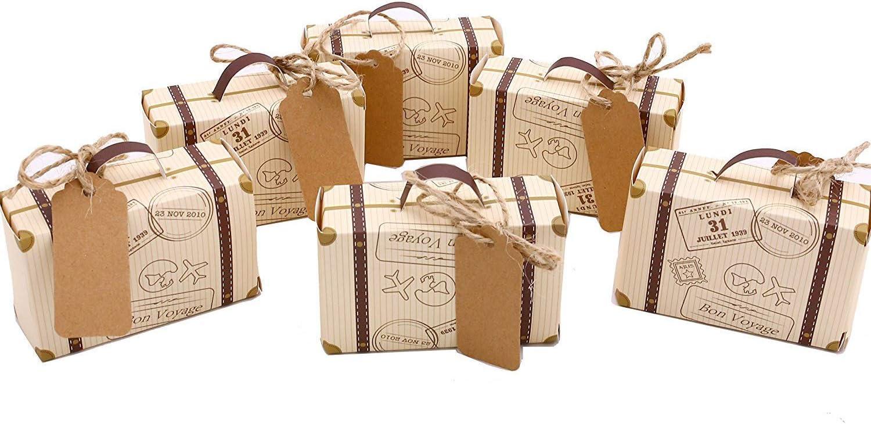 50pcs Mini maleta boda Favor Candy Box Vintage Kraft papel con etiquetas y cuerda de arpillera para boda/novia fiesta decoración