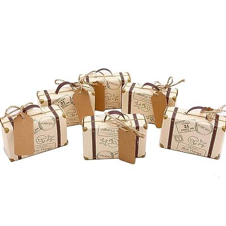 50pcs Mini maleta boda Favor Candy Box Vintage Kraft papel con etiquetas y cuerda de arpillera