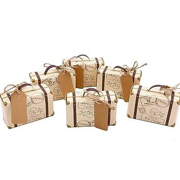 50 Mini Koffer Hochzeit Favor Candy Box Vintage Kraft Papier Mit