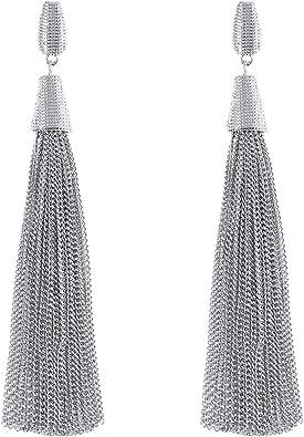 Pair Of Fashion Silver Snake Chain Drop Earrings Women Jewellery Dangle Stud