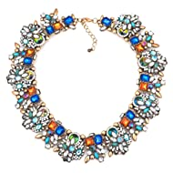 Q&Locket Women Colorful Flower Floral Collar Bib Chunky Statement Necklaces