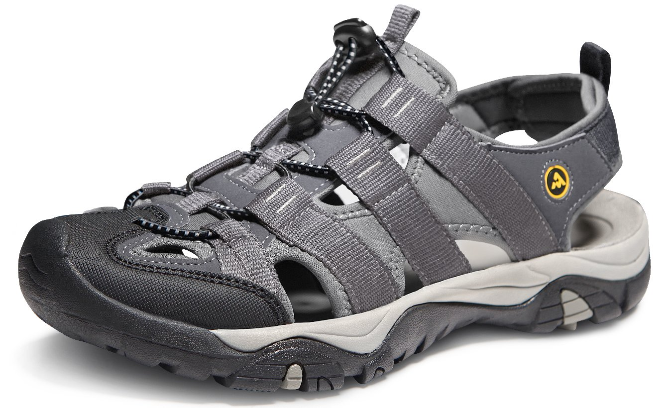 ATIKA AT-M107-GRY_Men 9 D(M) Men's Sports Sandals Trail Outdoor Water Shoes 3Layer Toecap M107