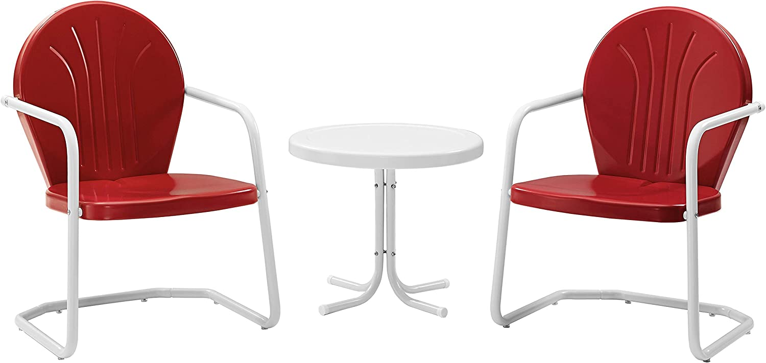 Crosley Furniture Griffith 3-Piece Metal Outdoor Conversation Set with Table and 2 Chairs - Red: Garden & Outdoor