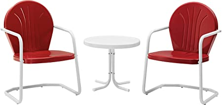 Red Crosley Furniture Griffith 3-Piece Metal Outdoor Conversation Set with Table and 2 Chairs