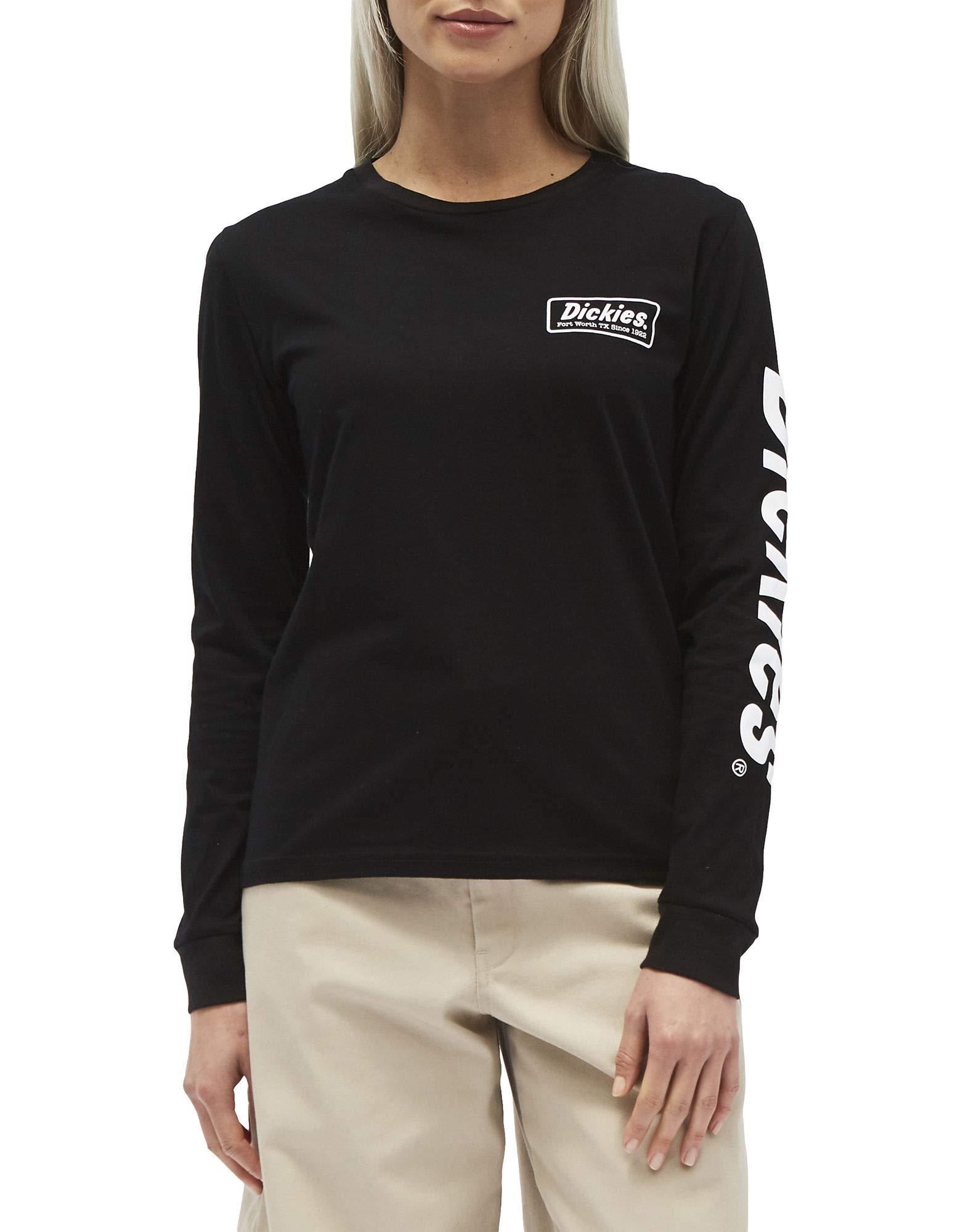 Dickies Girl Juniors' Logo Long Sleeve T-Shirt (Black/White, Small)