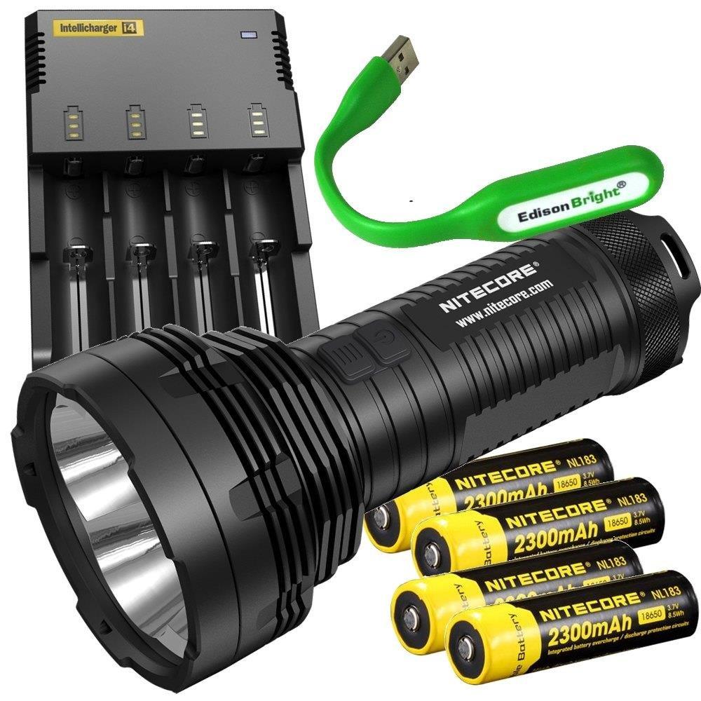 Nitecore TM16GT 3600 Lumen CREE LED long range Flashlight/Searchlight, i4 charger, 4 X Nitecore NL183 18650 Li- ion batteries, USB powered EdisonBright reading light bundle