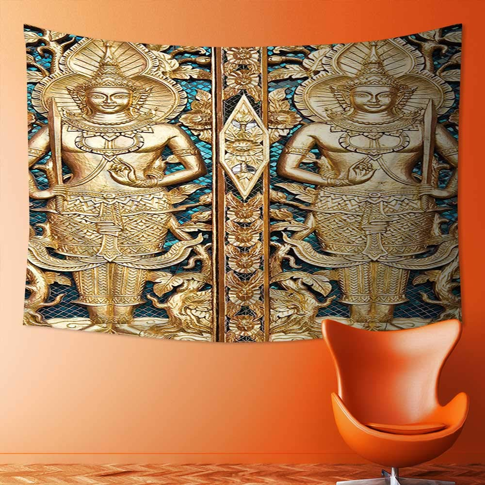 L-QN Tapestry Wall Hanging Collection Thai Gate at Wat Sirisa Tong Thailand Buddhism Architecture History Spiritual Picture Wall Tapestry for Bedroom Dorm Decor