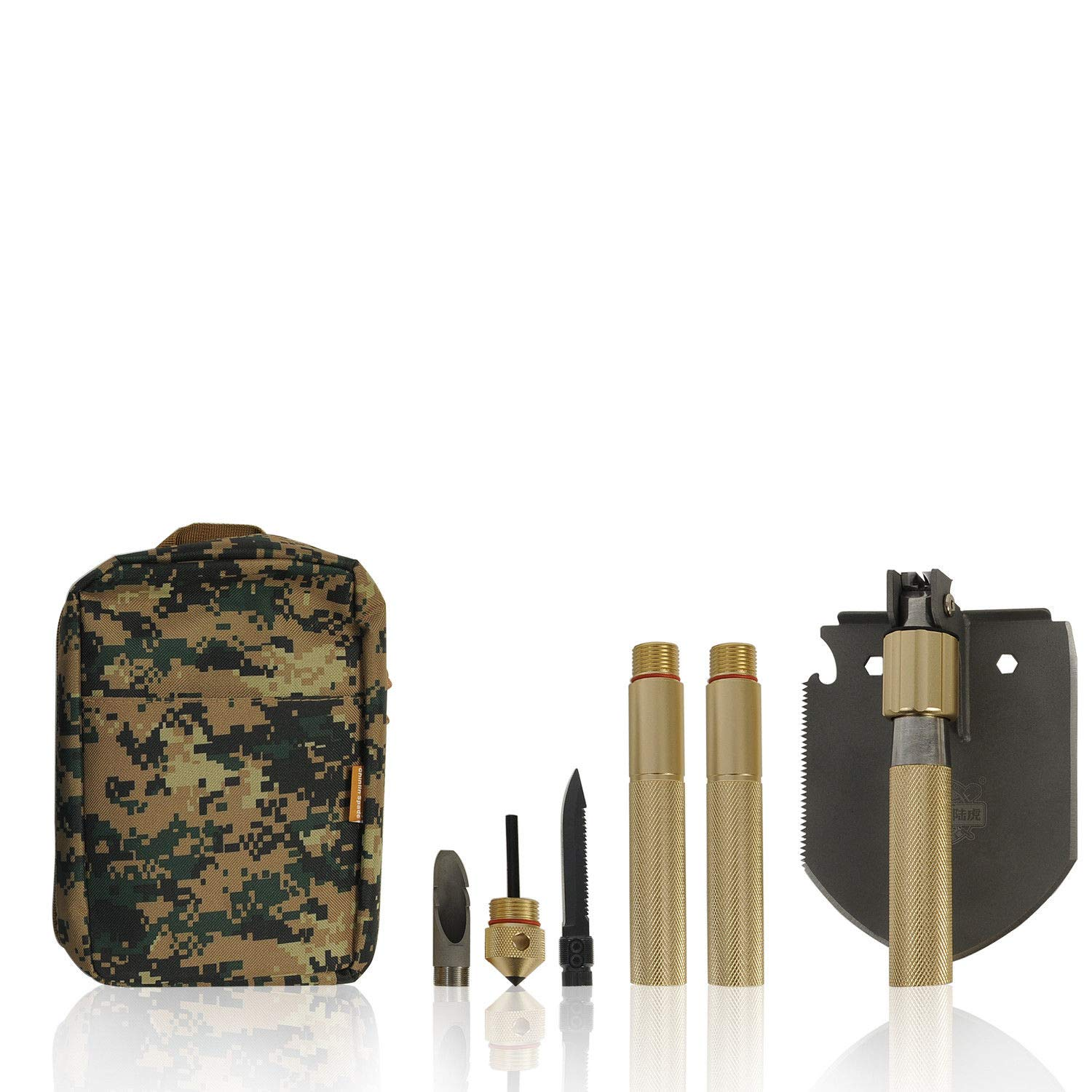 EAG Military Folding Shovel - Multi Purpose Tool Golden Stainless Steel Shovel for Camping Hiking Gardening - with Carrying Pouch