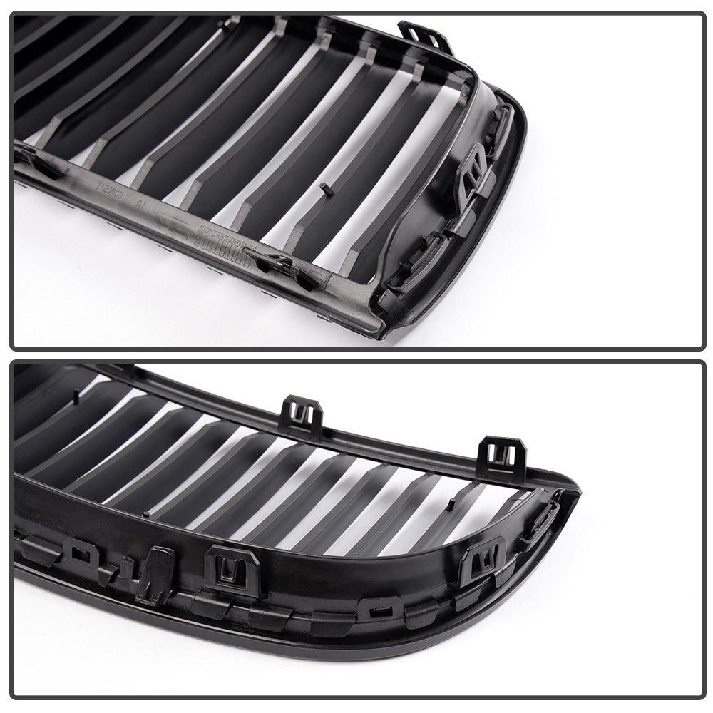 4PCS Front Bumper Kidney Grille Hood Grills For 2005-2008 BMW E90 E91 323i 328i 335i 330i 325i 3-Series Sedan Wagon Gloss Black