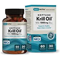 Neptune Krill Oil 1000mg by DailyNutra - High Absorption Omega-3 EPA DHA & Astaxanthin. Pure and Sustainable. Clinically Shown to Support Healthy Heart, Brain and Joints. (30 Servings / 60 Capsules)
