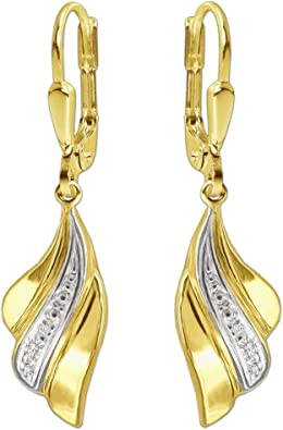 Clever Schmuck Goldene Damen Ohrringe als Ohrhänger 30 mm Flügel wellenartig 3 fach gefächert innen weiß rhodiniert bicolor glänzend 333 GOLD 8 KARAT