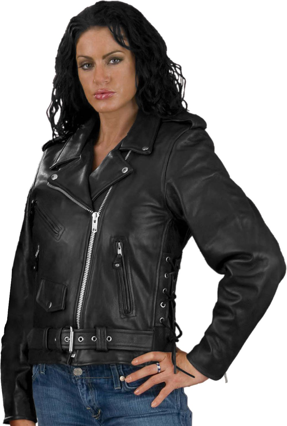 LC2700 Ladies Black Basic Classic Motorcycle Premium Leather Jacket with side laces