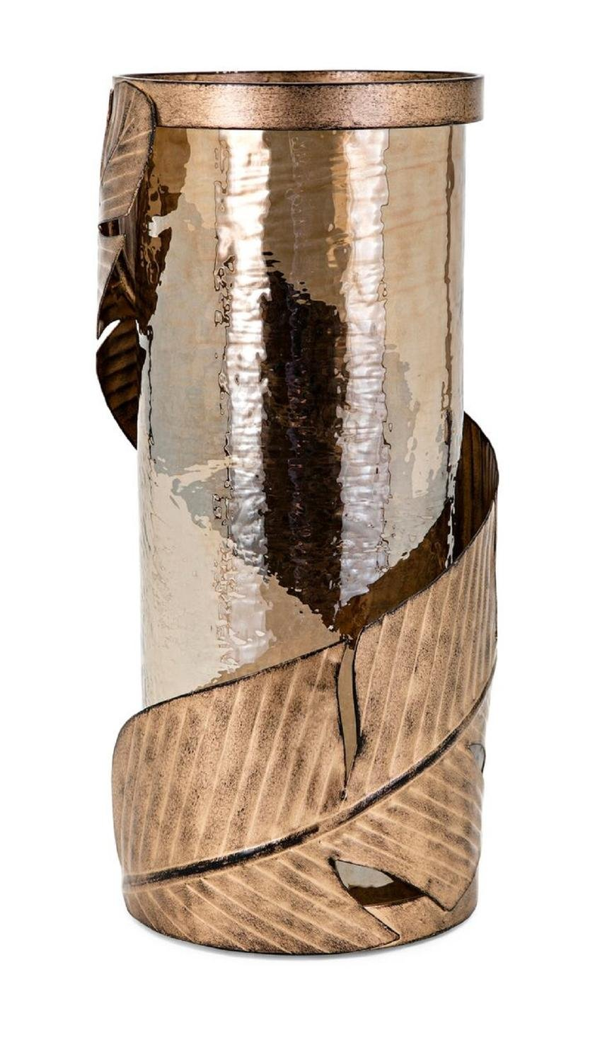 15.75'' Brown and Bronze Finish Large Feather Hurricane Candle Holder