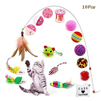 OneBarleycorn - 16 Piezas Juguetes para Gatos,Varios Juguetes para Gatitos Cat Juguetes interactivos para Ratones con gatita Sisal para Interiores y ...