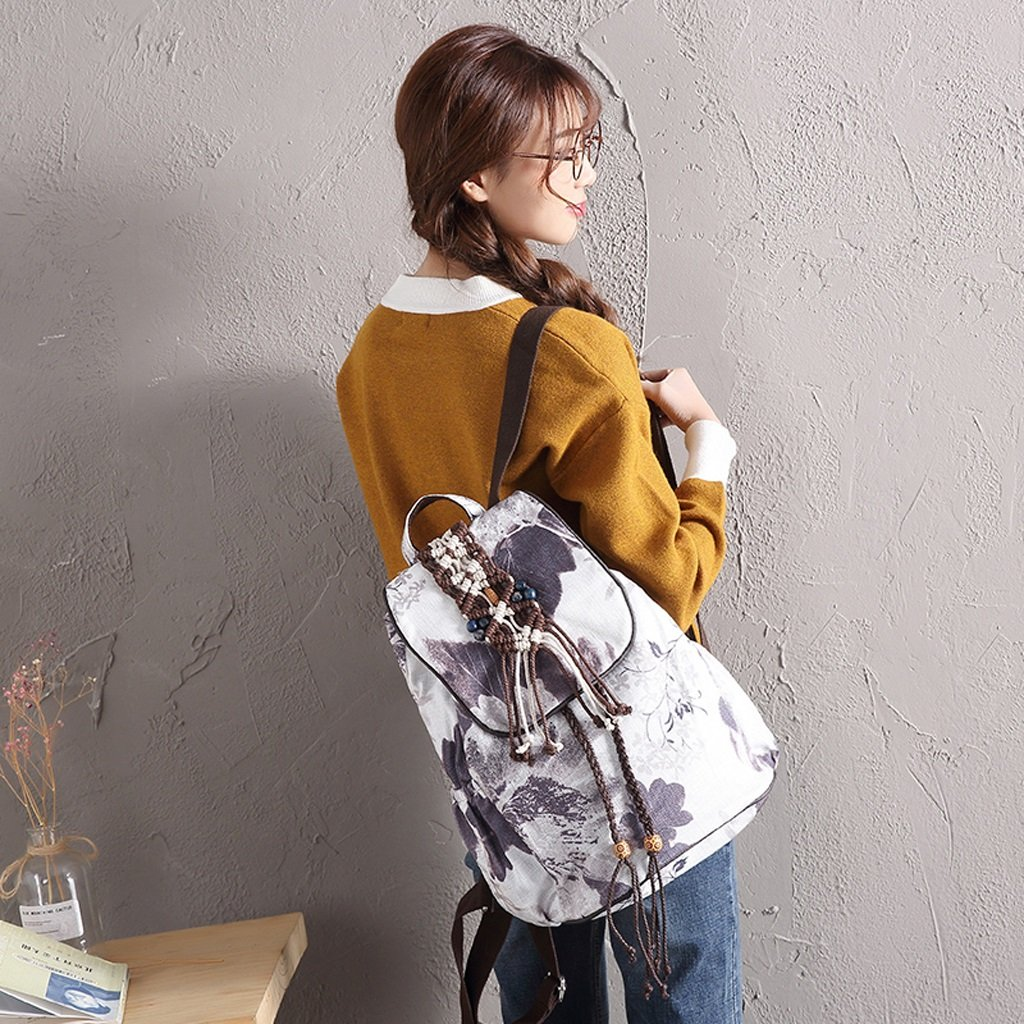HZH Ink Painting Ethnic Style Art Backpack Shoulder Hand-Woven Canvas Travel Chinese Style Wild Practical Backpack