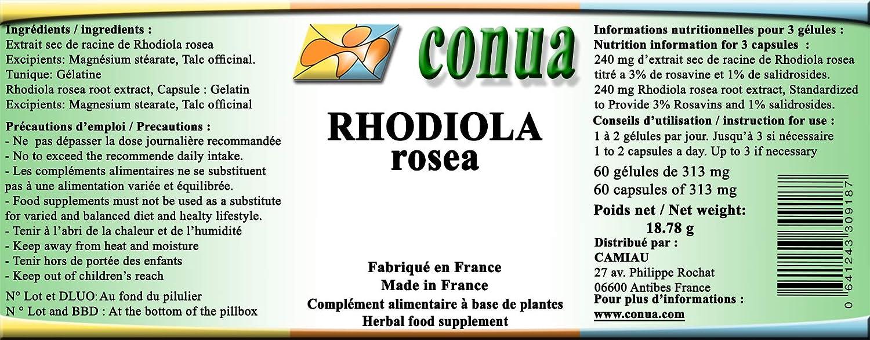 Rhodiola rosea rosavine plantas extractos 100% naturales estandarizados 3% rosavin y 1% salidrosides 60 cápsulas de 313 mg de polvo más y rodiole plus ...