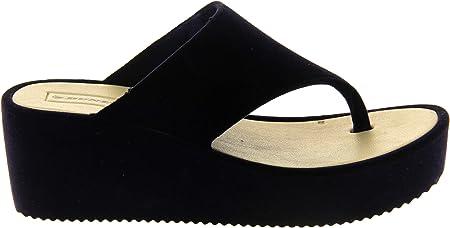 Dunlop Mujer Sandalia cuña Plataforma Plataforma Terciopelo
