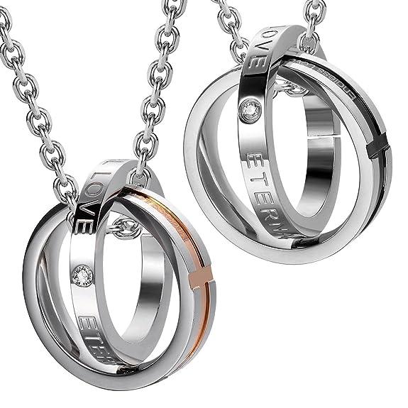 2 opinioni per Unica coppia di collane con ciondoli ad anello per lui e lei, con scritta