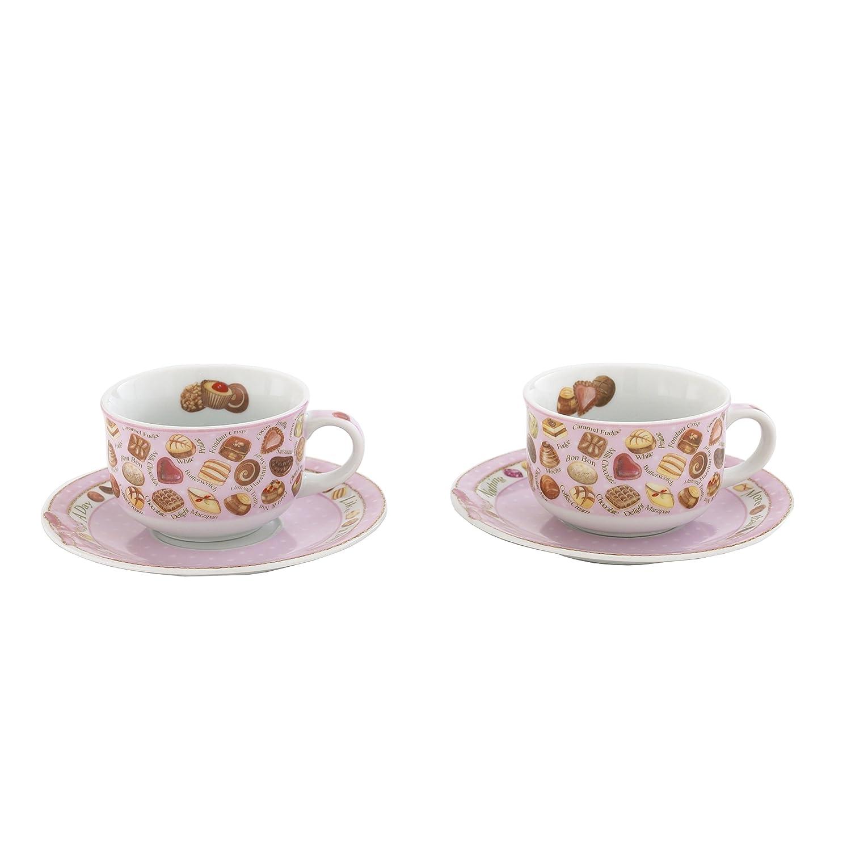 Multicolor Cardew Design Chocolates Cup /& Saucer 8 oz Set of 2