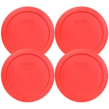 Pyrex 7201-PC Round Red 6.5  4 Cup Lid for Glass Bowl 4 Pack