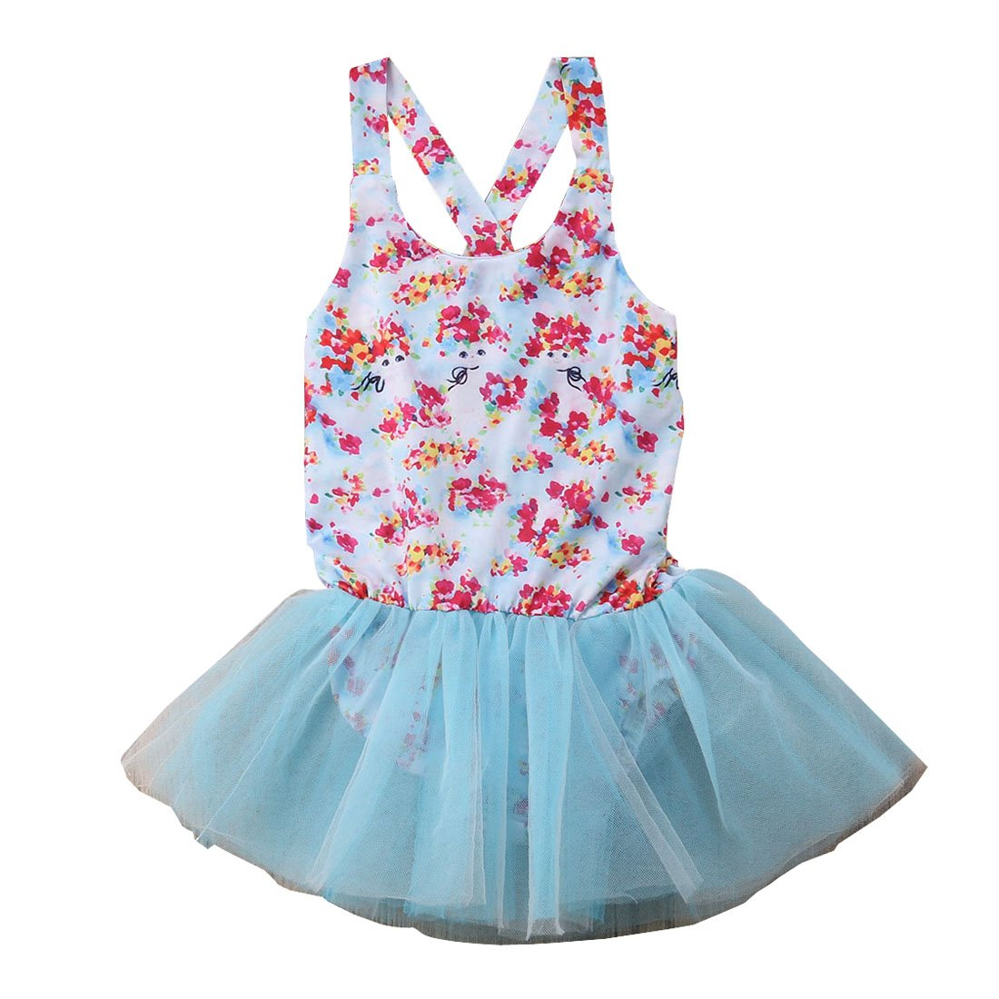 Boiiwant Little Girl One Piece Swimsuit Summer Blue Lace Flowers Print Skirt 1-5T