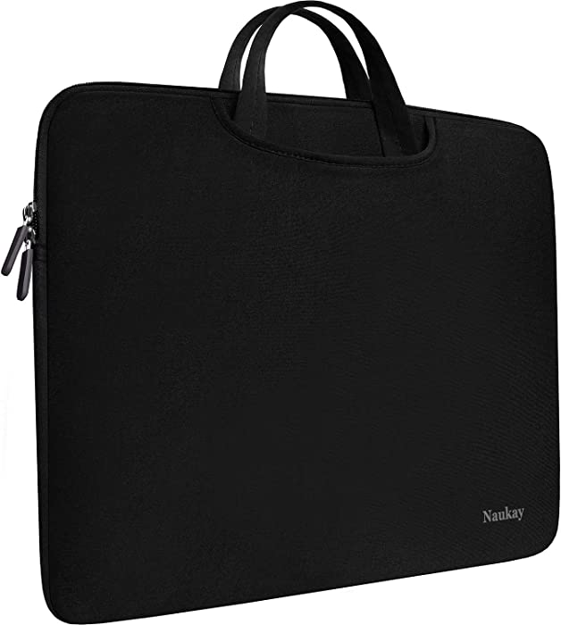 Laptop Sleeve Bag 15.6 Inch, Durable Slim Briefcase Handle Bag & with Two Extra Pockets,Notebook Computer Protective Case for Computer Notebook Ultrabook,Collapsible Carrying Handles (Black)
