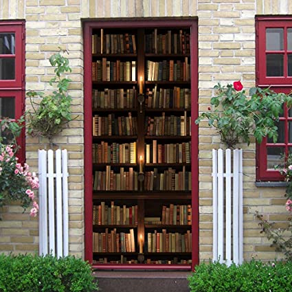 XiHYu 3D Door Sticker Vintage Library Bookshelf Wall Murals Wallpaper PVC Stickers DIY Home Decoration