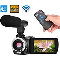 Digital Camera Wifi Camcorder Full HD 1080p 30FPS 24.0MP 16X Digital Zoom Video Camera with Microphone Night Vision Pause Function Vlogging Camera Support Remote Controller (W1)