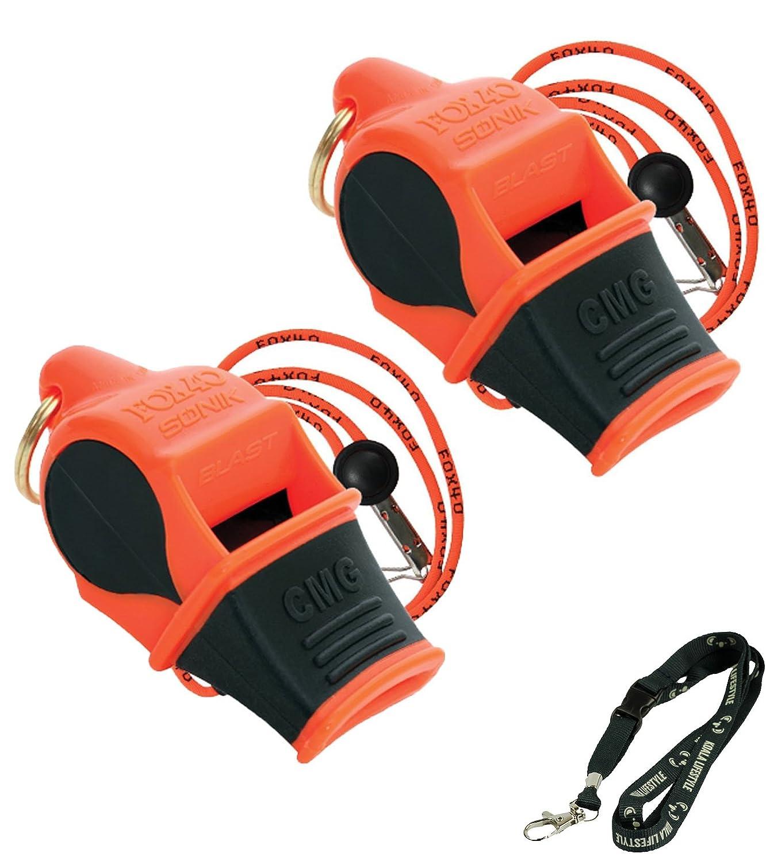 Survival Whistle Safety Fox 40 Sonik Blast CMG Loudest Pealess Outdoor 2pk Bundle Breakaway Lanyardss Koala Lanyard Emergency