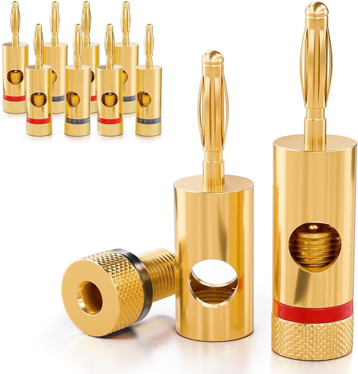 Deleycon 10x Bananenstecker 24k Vergoldet Und Schraubbar Für Kabel Boxen Verstärker Av Receiver Endstufen Hifi Stereoanlagen